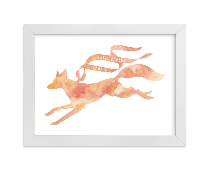 This is a pink personalized art for kid by Natalie Groves called Red Fox Ribbon with standard.