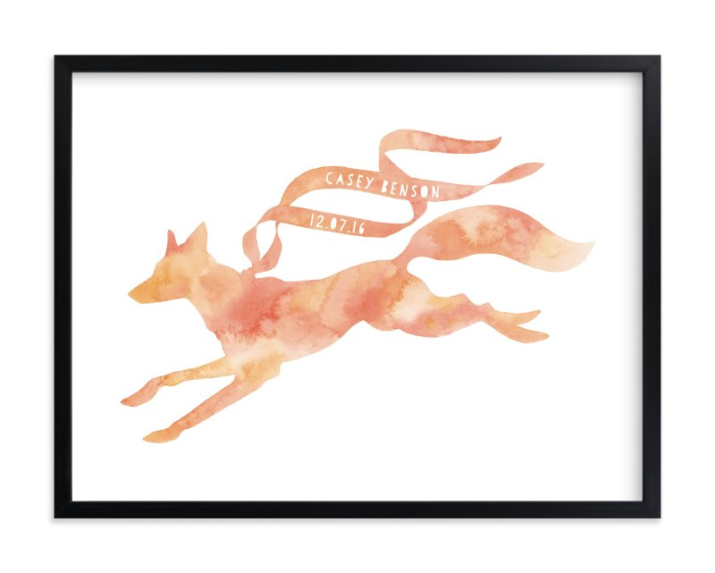 """""""Red Fox Ribbon"""" - Children's Custom Art Print by Natalie Groves in beautiful frame options and a variety of sizes."""