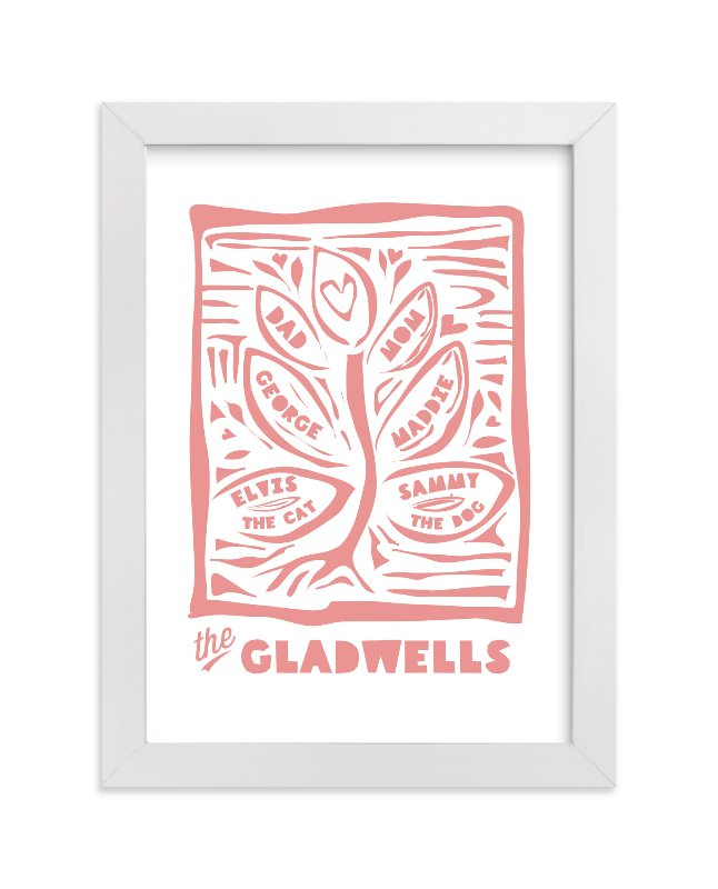 This is a pink personalized art for kid by shoshin studio called Linocut Family Tree with standard.