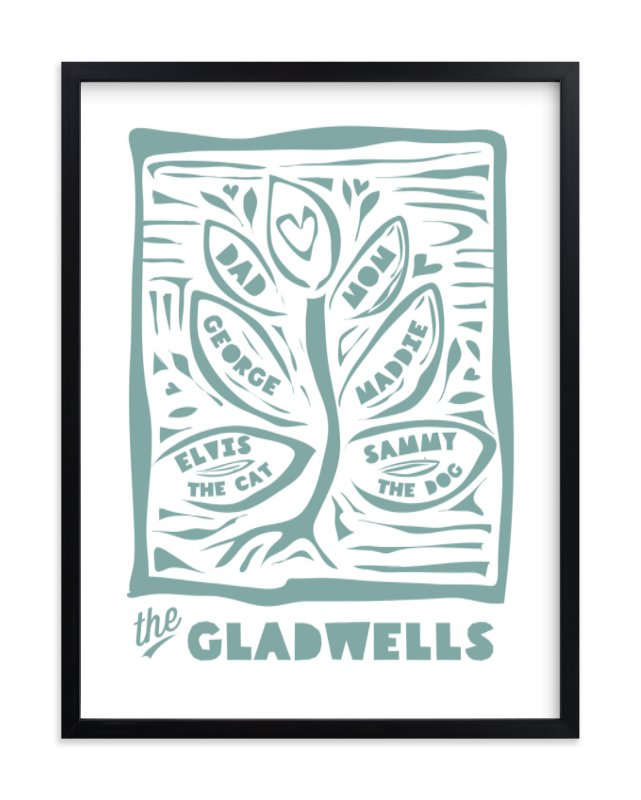 """""""Linocut Family Tree"""" - Children's Custom Art Print by shoshin studio in beautiful frame options and a variety of sizes."""
