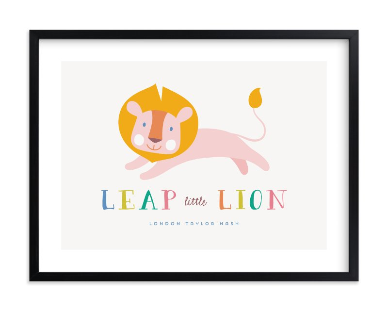 """Leap Little Lion"" - Children's Custom Art Print by A Real Peach Studio in beautiful frame options and a variety of sizes."
