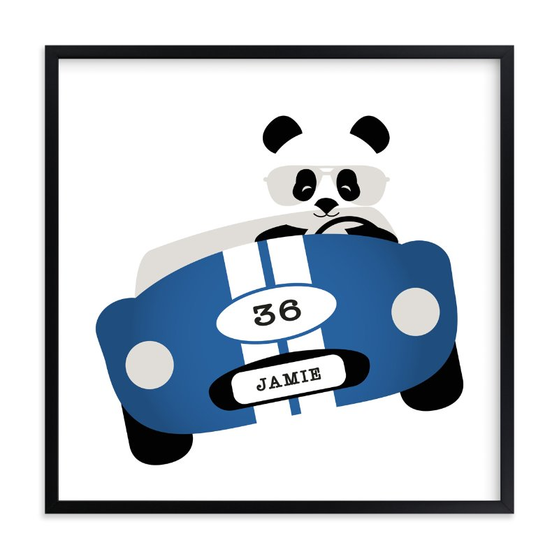 """Speedway Panda"" - Children's Custom Art Print by Kampai Designs in beautiful frame options and a variety of sizes."