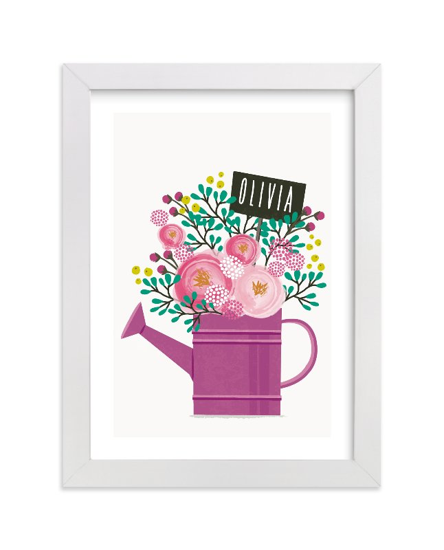 This is a purple personalized art for kid by Karidy Walker called Little Gardener with standard.