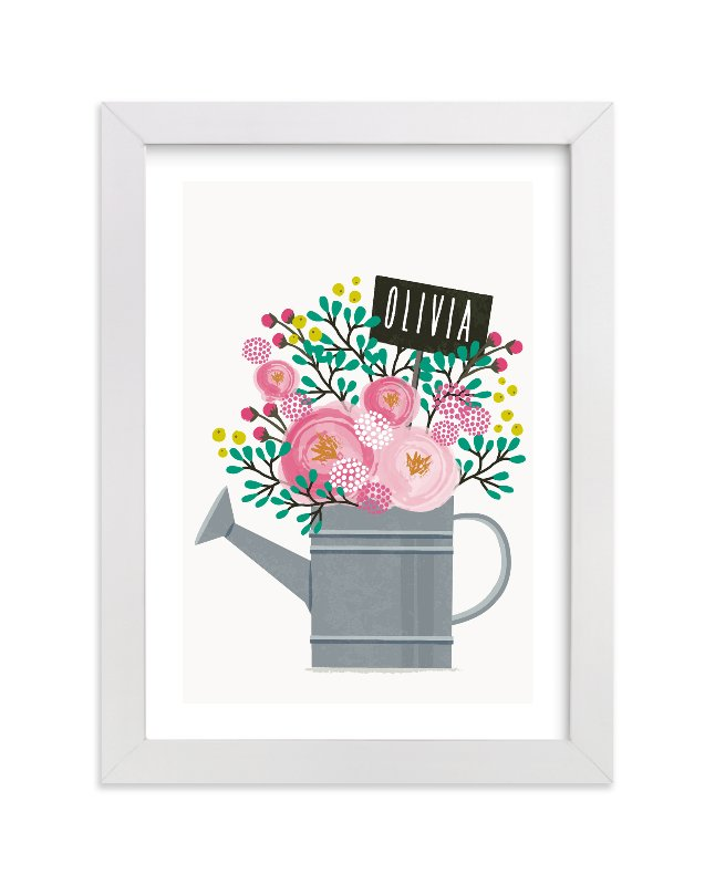 This is a grey personalized art for kid by Karidy Walker called Little Gardener with standard.