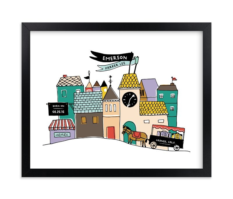 """Villagescape Stats"" - Children's Custom Art Print by Frooted Design in beautiful frame options and a variety of sizes."
