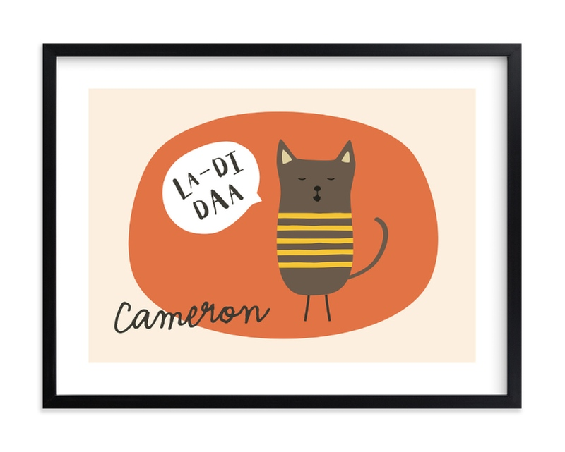 """""""Singing Cat"""" - Children's Custom Art Print by Alston Wise in beautiful frame options and a variety of sizes."""