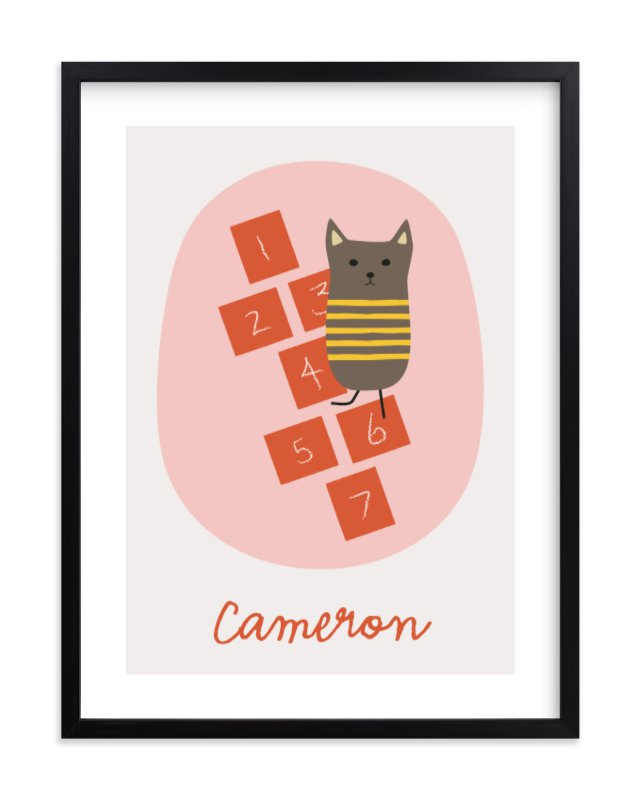 """""""Hopscotch Cat"""" - Children's Custom Art Print by Alston Wise in beautiful frame options and a variety of sizes."""