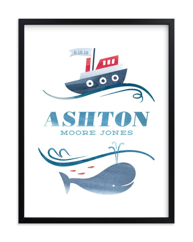 """""""Ahoy Baby"""" - Children's Custom Art Print by Rebecca Daublin in beautiful frame options and a variety of sizes."""
