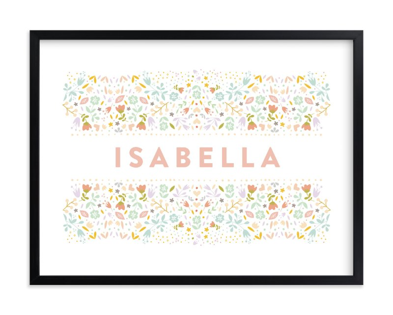 """Floral Name"" - Children's Custom Art Print by Phrosne Ras in beautiful frame options and a variety of sizes."