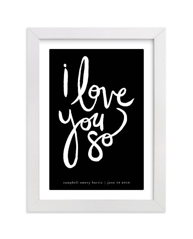 This is a black personalized art for kid by Kelly Ventura called I Love You So with standard.