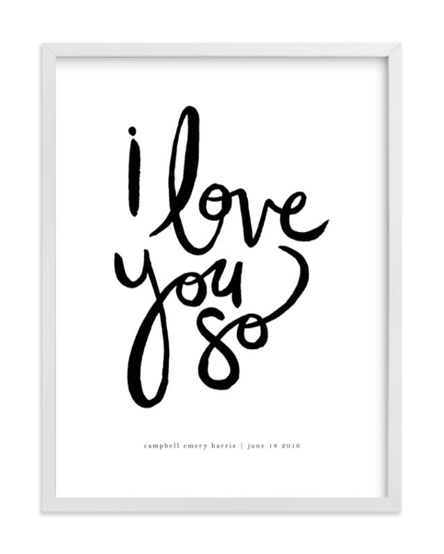 This is a white personalized art for kid by Kelly Ventura called I Love You So.