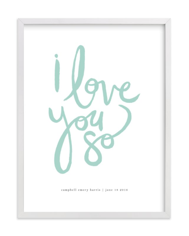 This is a green personalized art for kid by Kelly Ventura called I Love You So.
