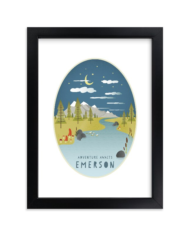 """Adventure Awaits"" - Children's Custom Art Print by Grace Kreinbrink in beautiful frame options and a variety of sizes."