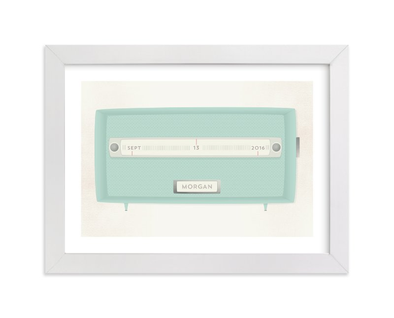 This is a green personalized art for kid by Grace Kreinbrink called Vintage Radio with standard.