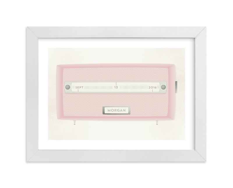 This is a pink personalized art for kid by Grace Kreinbrink called Vintage Radio with standard.