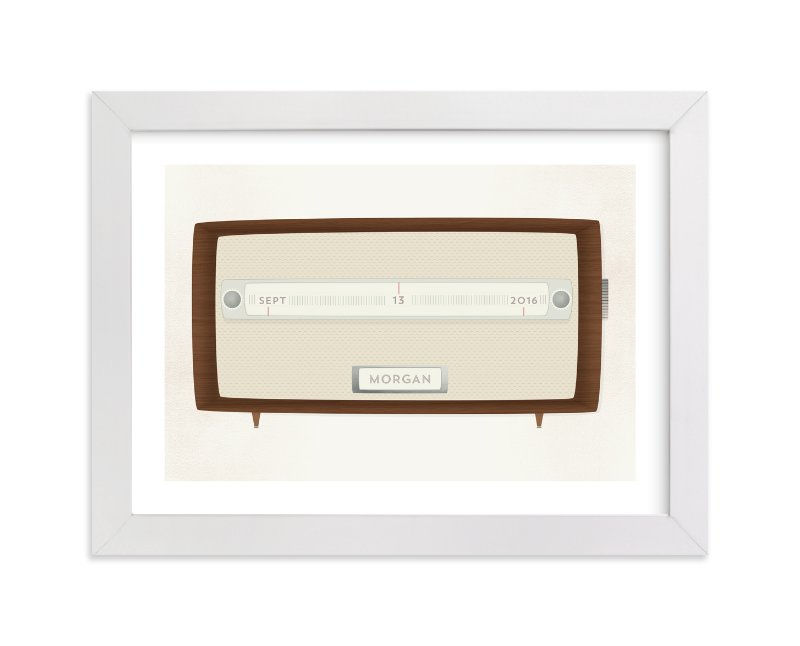 This is a brown personalized art for kid by Grace Kreinbrink called Vintage Radio with standard.