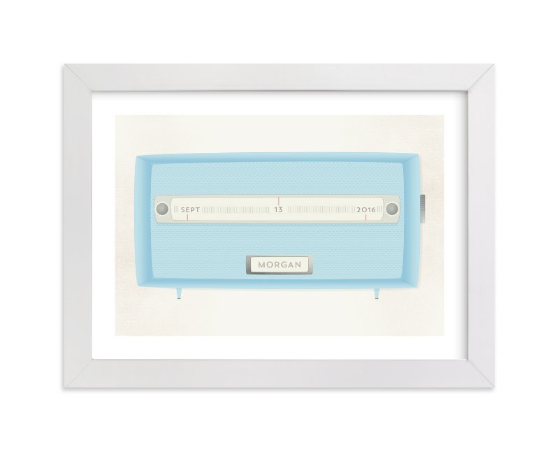 This is a blue personalized art for kid by Grace Kreinbrink called Vintage Radio with standard.