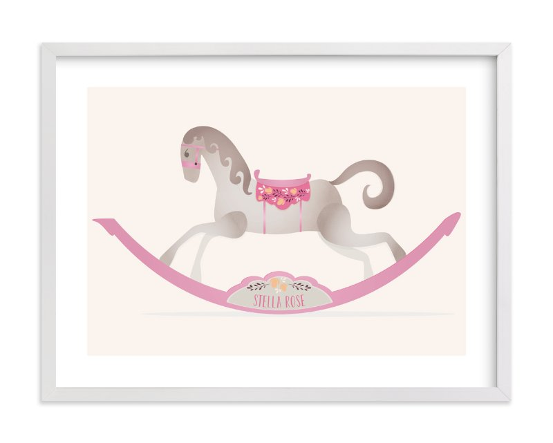 This is a pink personalized art for kid by Grace Kreinbrink called Painted Horse.