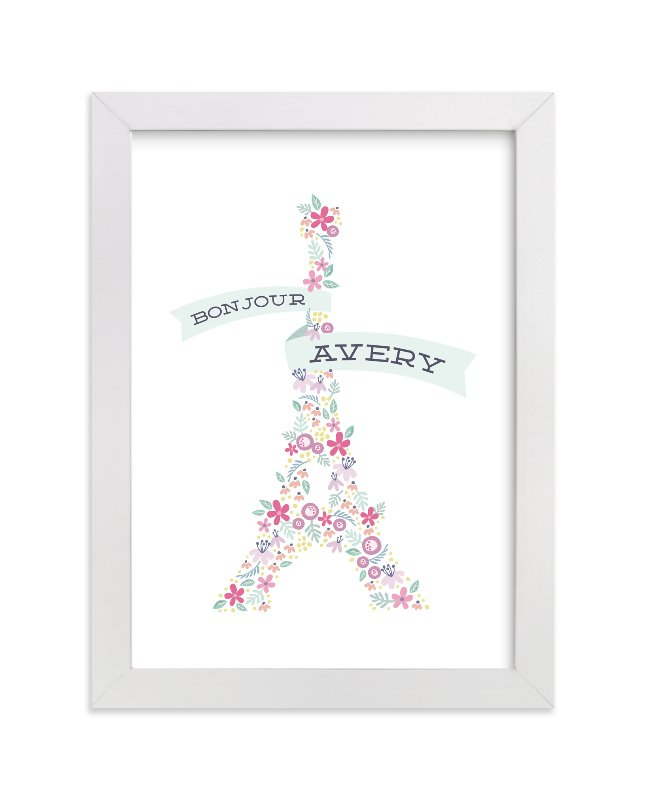 """""""Bonjour Ma Fleur"""" - Children's Custom Art Print by Laura Hankins in beautiful frame options and a variety of sizes."""