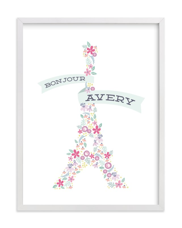 """Bonjour Ma Fleur"" - Children's Custom Art Print by Laura Hankins in beautiful frame options and a variety of sizes."