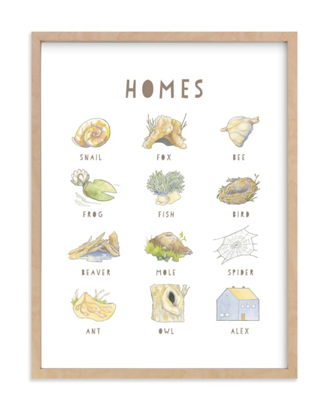 """Homes"" - Children's Custom Art Print by Natalie Groves in beautiful frame options and a variety of sizes."