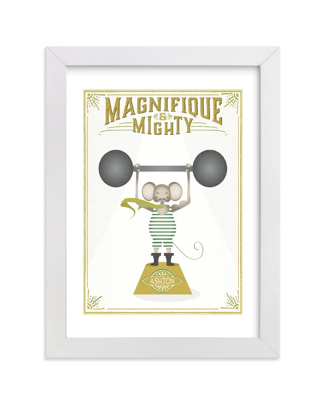 This is a beige personalized art for kid by Grace Kreinbrink called Magnifigue Circus Mouse with standard.