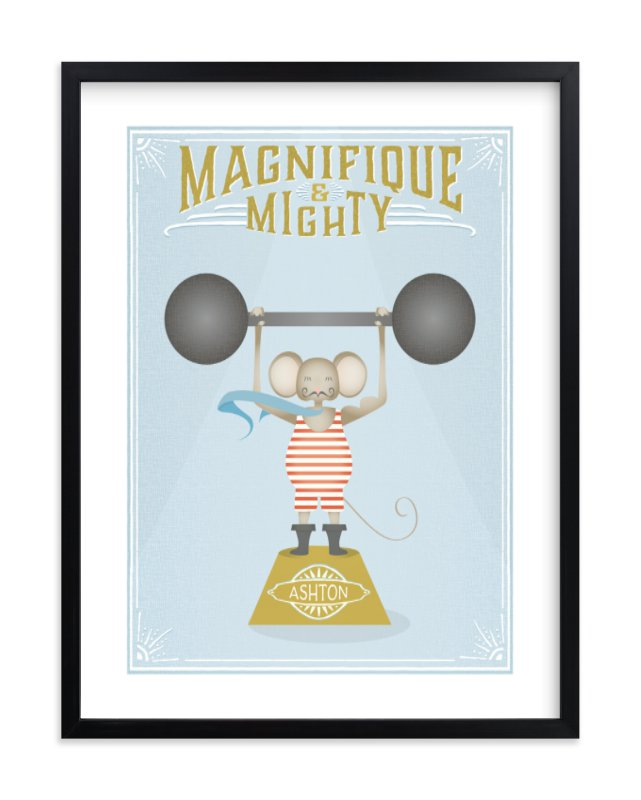 """""""Magnifigue Circus Mouse"""" - Children's Custom Art Print by Grace Kreinbrink in beautiful frame options and a variety of sizes."""