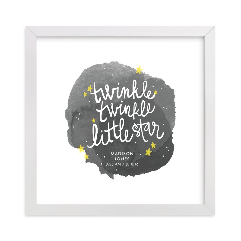 This is a grey personalized art for kid by Lacie Cunningham called Twinkle Twinkle Little Star.