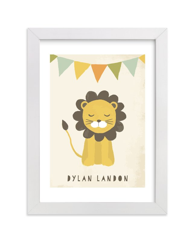 This is a beige personalized art for kid by August and Oak called Sleepy Lion with standard.