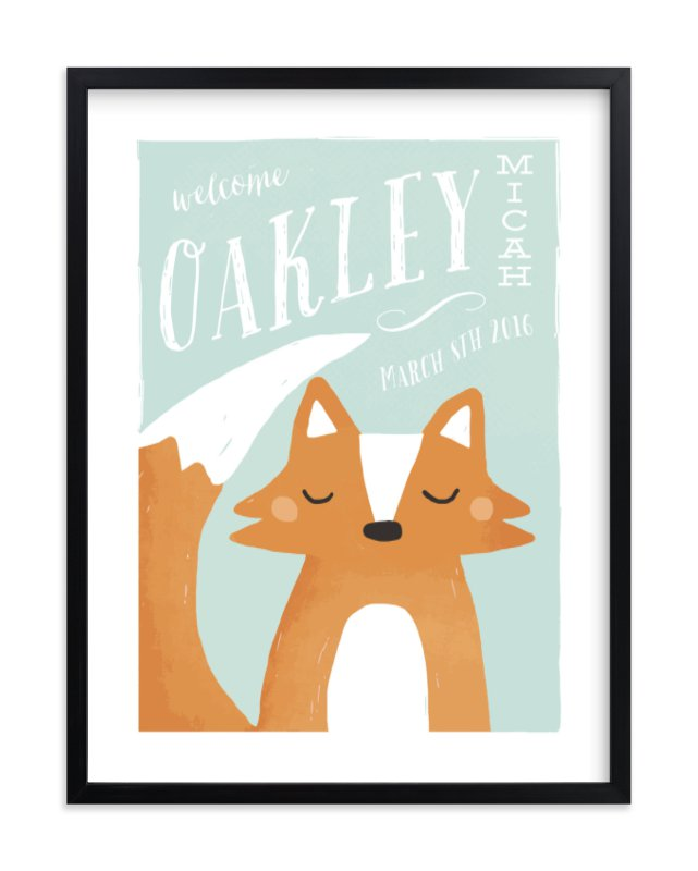 """Fox"" - Children's Custom Art Print by August and Oak in beautiful frame options and a variety of sizes."