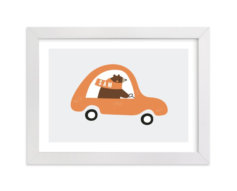 """Fast Bear"" - Children's Custom Art Print by Angela Thompson in beautiful frame options and a variety of sizes."