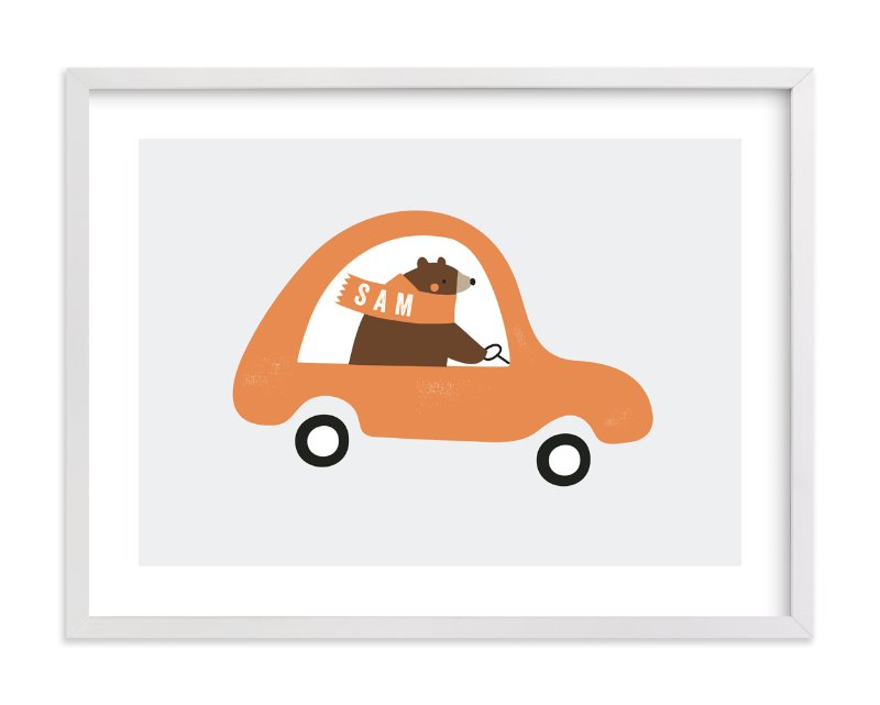 """""""Fast Bear"""" - Children's Custom Art Print by Angela Thompson in beautiful frame options and a variety of sizes."""