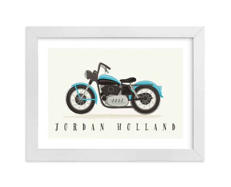 This is a blue personalized art for kid by Karidy Walker called vintage motorcycle with standard.