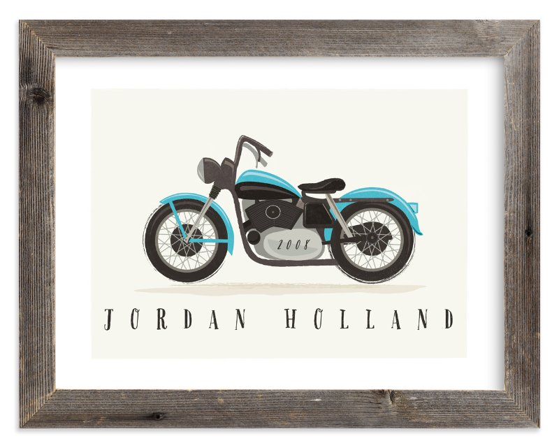 """vintage motorcycle"" - Children's Custom Art Print by Karidy Walker in beautiful frame options and a variety of sizes."