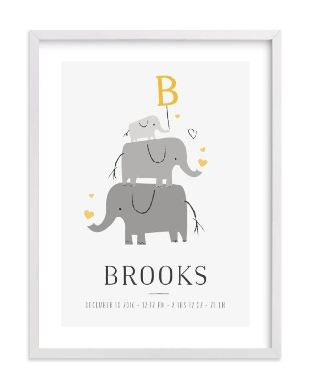 """""""Elephant Family"""" - Children's Custom Art Print by Chryssi Tsoupanarias in beautiful frame options and a variety of sizes."""