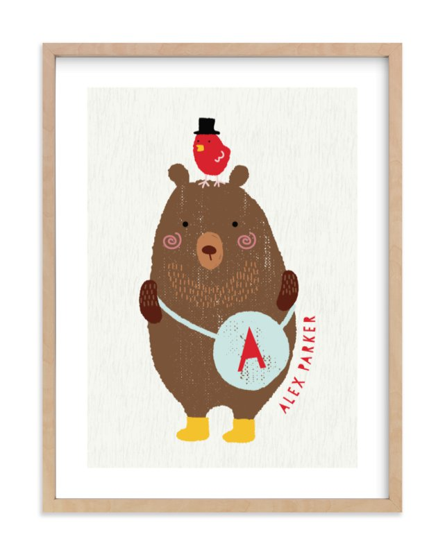 """Little Bear and red bird"" - Children's Custom Art Print by iamtanya in beautiful frame options and a variety of sizes."