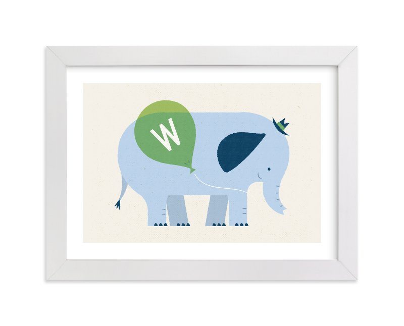 """""""Mr Elephant's Balloon"""" - Children's Custom Art Print by Bob Daly in beautiful frame options and a variety of sizes."""