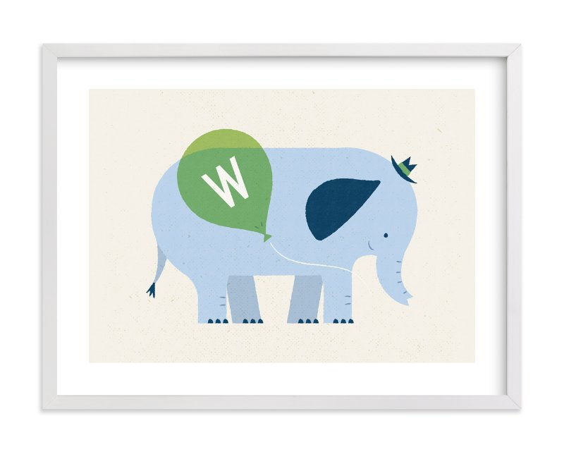 """Mr Elephant's Balloon"" - Children's Custom Art Print by Bob Daly in beautiful frame options and a variety of sizes."