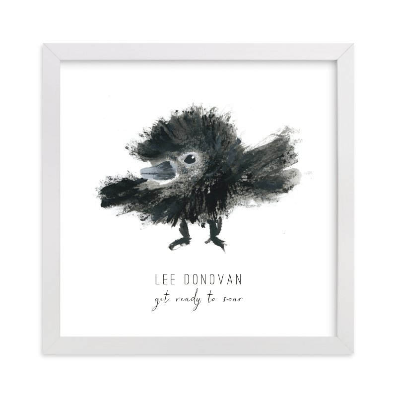 This is a black and white personalized art for kid by Simona Camp called Ready to Fly with standard.