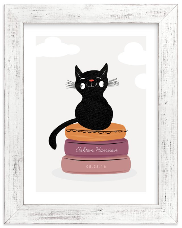 """The Cat & the Cushions"" - Children's Custom Art Print by Oma N. Ramkhelawan in beautiful frame options and a variety of sizes."