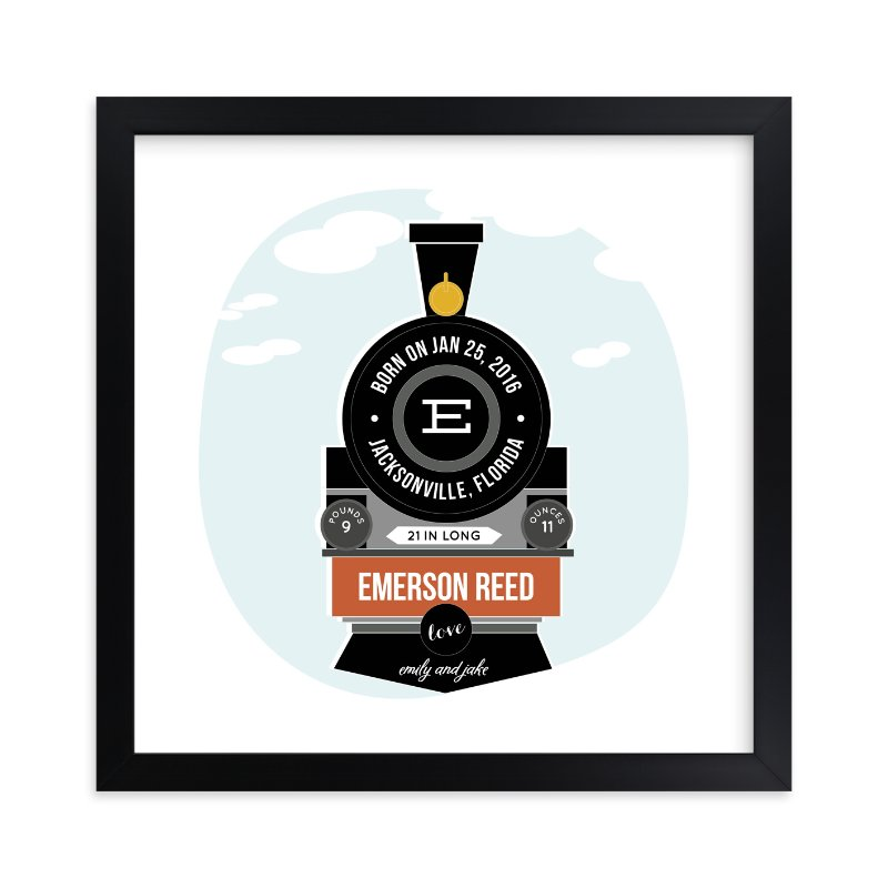 """""""T is for Train"""" - Children's Custom Art Print by Anupama in beautiful frame options and a variety of sizes."""