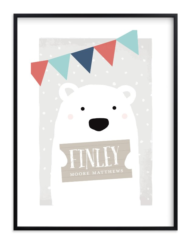 """""""Polar Bear"""" - Children's Custom Art Print by August and Oak in beautiful frame options and a variety of sizes."""