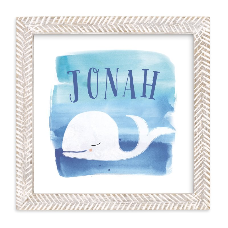 """""""Watercolor Whale"""" - Children's Custom Art Print by Lindsay Megahed in beautiful frame options and a variety of sizes."""