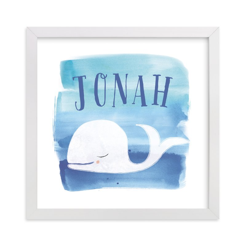 This is a blue personalized art for kid by Lindsay Megahed called Watercolor Whale with standard.