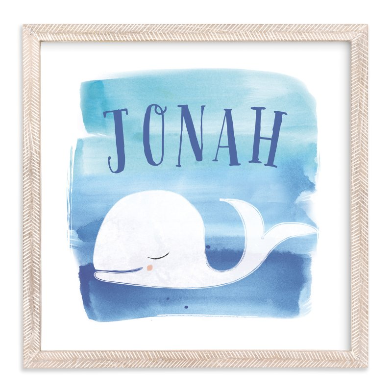 """Watercolor Whale"" - Children's Custom Art Print by Lindsay Megahed in beautiful frame options and a variety of sizes."