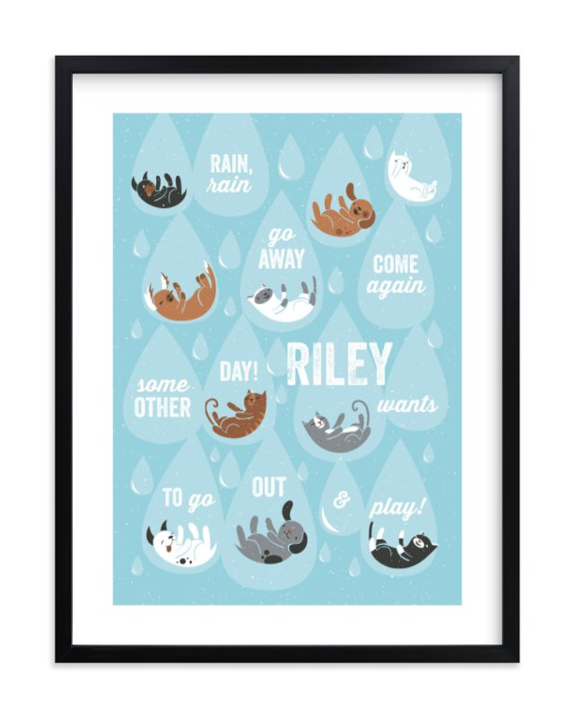 """Raining Cats & Dogs"" - Children's Custom Art Print by Mandy Rider in beautiful frame options and a variety of sizes."