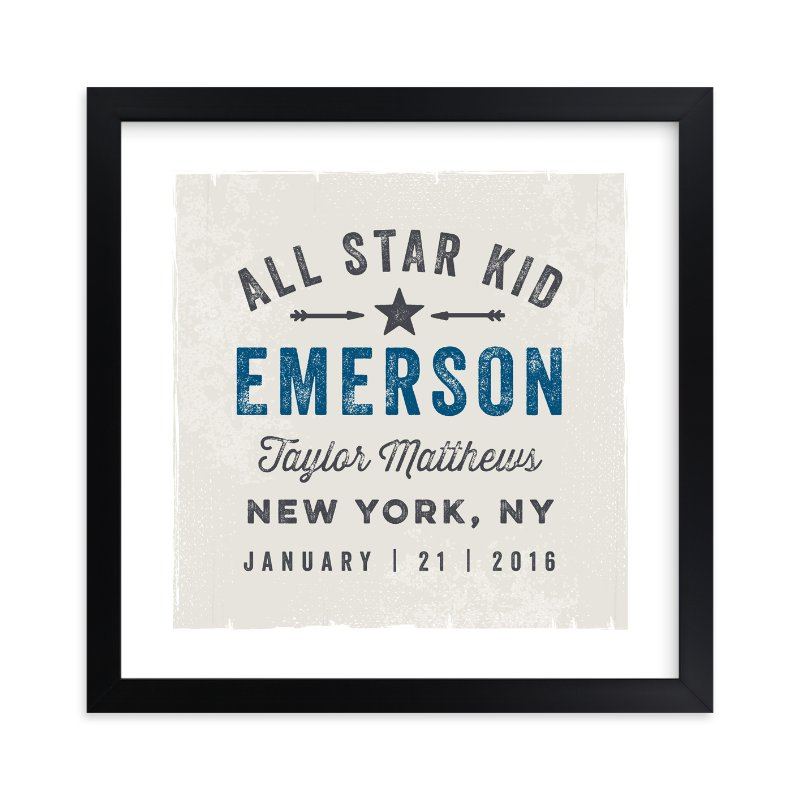 """""""All Star Kid"""" - Children's Custom Art Print by Karidy Walker in beautiful frame options and a variety of sizes."""