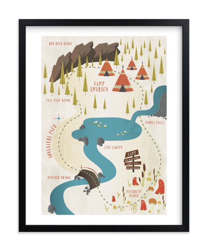 """Adventure Map"" - Children's Custom Art Print by Grace Kreinbrink in beautiful frame options and a variety of sizes."
