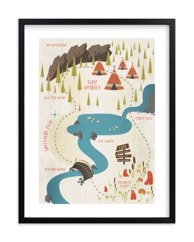 """""""Adventure Map"""" - Children's Custom Art Print by Grace Kreinbrink in beautiful frame options and a variety of sizes."""