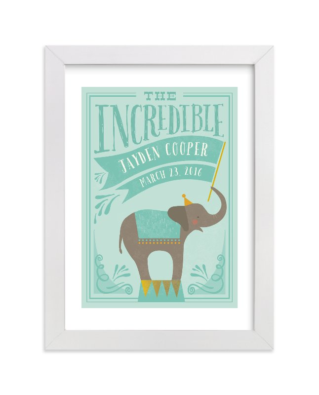 This is a green personalized art for kid by Karidy Walker called Circus Elephant with standard.